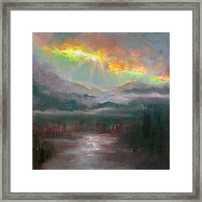 Gold Lining - Chugach Mountain Range En Plein Air Framed Print by Talya Johnson