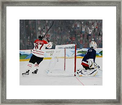 Gold Medal Goal Framed Print by Betty-Anne McDonald