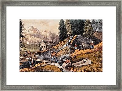 Gold Mining In California Framed Print by Currier and Ives