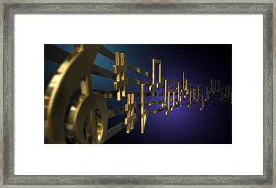 Gold Music Notes On Wavy Lines Framed Print