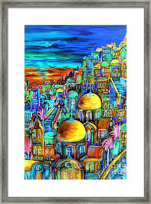 Gold On Santorini Churches Framed Print