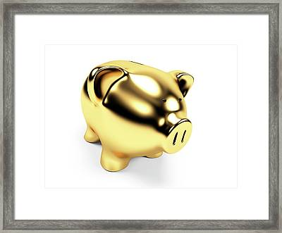 Gold Piggy Bank Framed Print by Sebastian Kaulitzki