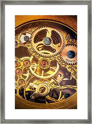 Gold Pocket Watch Gears Framed Print