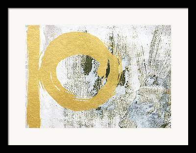 White And Gold Abstract Framed Prints