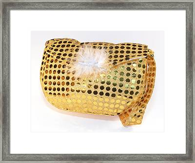Gold Sequin Purse Framed Print by Jo Ann Snover