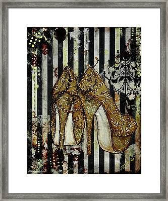 Gold Sequined Shoes With Black And Ivory Striped Background Framed Print