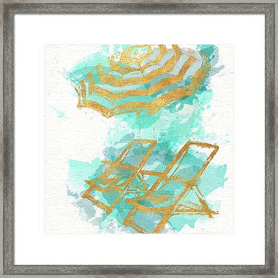 Gold Shore Poster Framed Print by Patricia Pinto