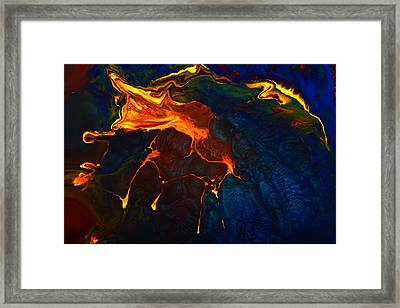 Gold Signature - Gold Orange Abstract Art By Kredart Framed Print
