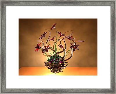 Gold Spirals Glass Flowers Framed Print by Louis Ferreira