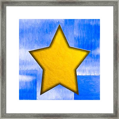 Gold Star From Out Of The Blue Framed Print