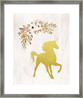 Gold Unicorn Floral Framed Print