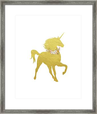 Gold Unicorn Framed Print
