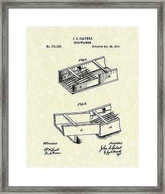 Gold-washer 1876 Patent Art Framed Print