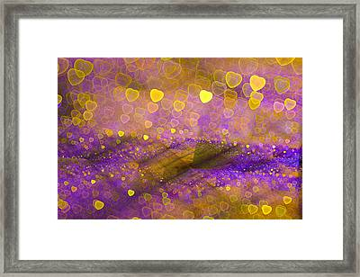 Golden And Purple Abstract Design With Hearts Framed Print by Matthias Hauser