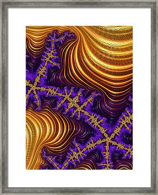 Golden And Purple Fractal River And Mountain Landscape Framed Print by Matthias Hauser