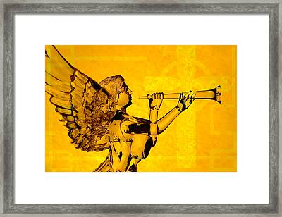 Framed Print featuring the photograph Golden Angel With Cross by Denise Beverly