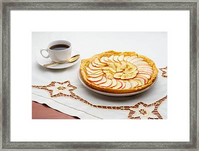 Golden Apple Tart And Coffee Cup Framed Print by Alain De Maximy