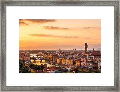 Golden Arno River Framed Print by Gurgen Bakhshetsyan
