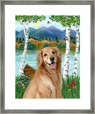 Golden At The Lake Framed Print by Jean B Fitzgerald