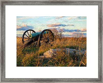 Golden Autumn Day At Anteitam Maryland National Battlefield  Cannon In Field Framed Print by Elaine Plesser