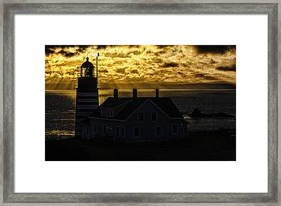 Golden Backlit West Quoddy Head Lighthouse Framed Print by Marty Saccone