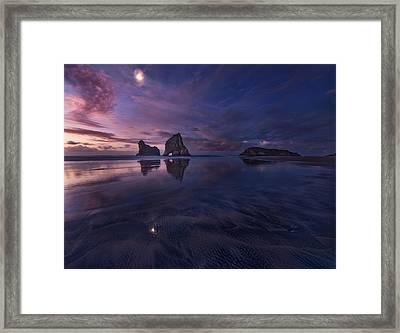 Golden Bay When Night Falls Framed Print