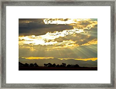 Golden Beams Of Sunlight Shining Down Framed Print
