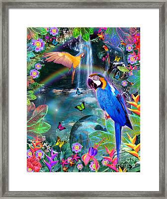 Golden Bluebirds Paradise Version 2 Framed Print by Alixandra Mullins