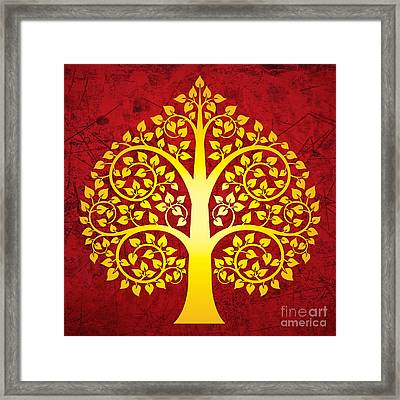 Golden Bodhi Tree No.1 Framed Print by Bobbi Freelance