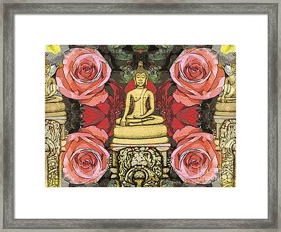 Framed Print featuring the painting Golden Buddha In The Garden by Joseph J Stevens