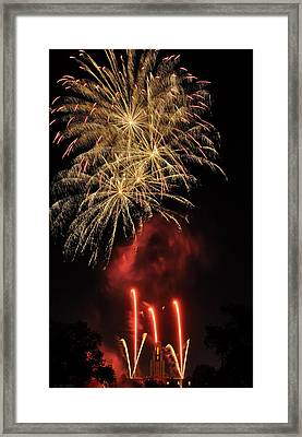 Framed Print featuring the photograph Golden Bursts And Ghostly Smoke by Kevin Munro