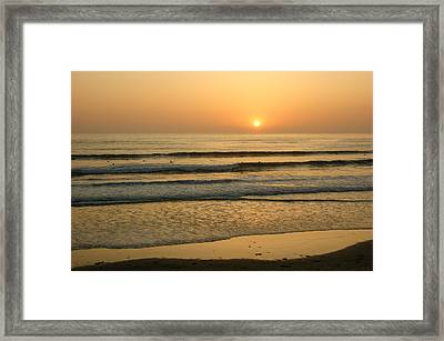 Golden California Sunset - Ocean Waves Sun And Surfers Framed Print