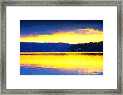 Golden Cayuga Lake Ithaca New York Framed Print by Paul Ge