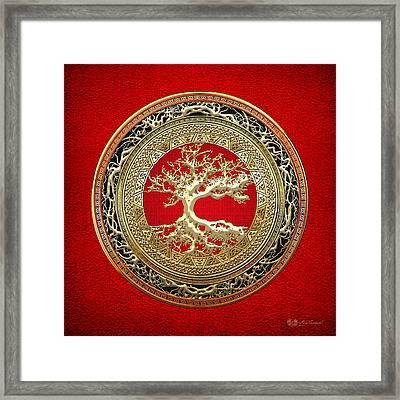 Golden Celtic Tree Of Life  Framed Print by Serge Averbukh
