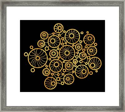 Golden Circles Black Framed Print