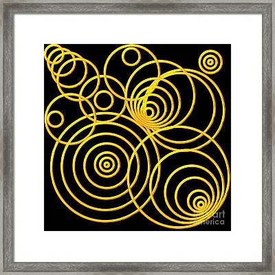 Golden Circles Optical Illusion Framed Print by Rose Santuci-Sofranko