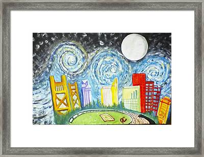 Framed Print featuring the painting Golden City Baseball by Carol Duarte