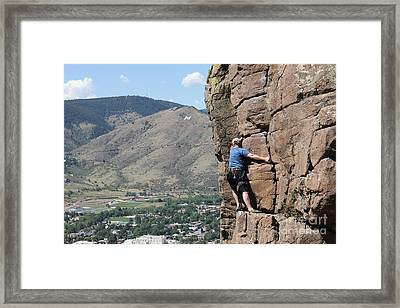 Framed Print featuring the pyrography Golden Climbing by Chris Thomas
