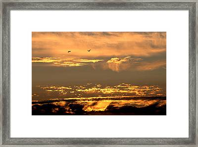 Framed Print featuring the photograph Golden Clouds by AJ  Schibig