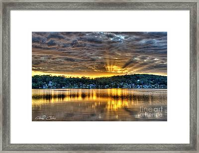 Golden Crepuscular Sunrise Water Reflections.     Framed Print by Geoff Childs