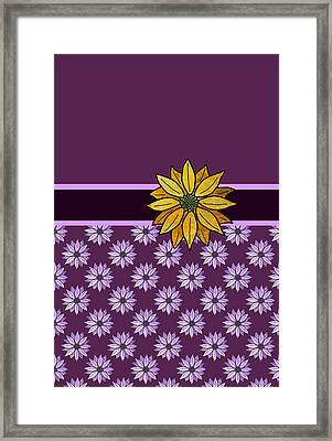 Golden Daisy On Plum Framed Print by Jenny Armitage