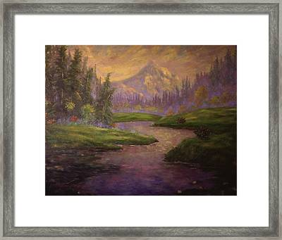 Golden Dawn At Mt. Hood Framed Print