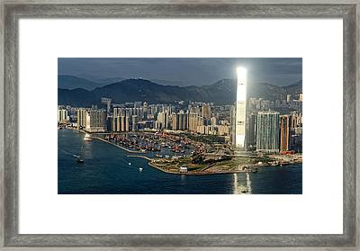 Golden Day Over Victoria's Harbor Framed Print by Thierry CHRIN