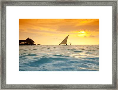 Golden Dhoni Sunset Framed Print by Sean Davey