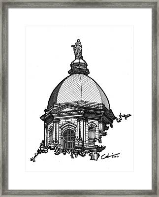 Framed Print featuring the drawing Golden Dome by Calvin Durham
