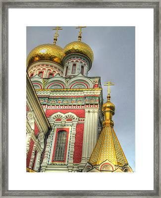 Golden Domes Of Russian Church Framed Print by Eti Reid
