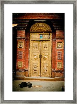 Golden Door In Kathamndu Framed Print