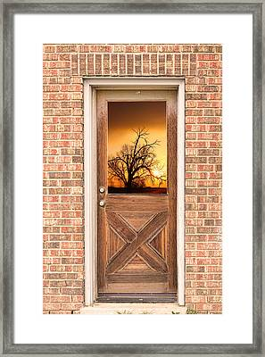 Golden Doorway Window View Framed Print