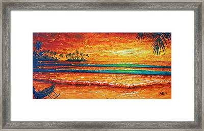 Golden Evening With My Canoe Framed Print by Joseph   Ruff