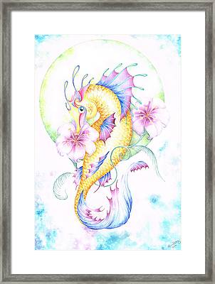 Golden Fairy Seahorse Framed Print by Heather Bradley